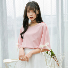 где купить Sweet Women Pink Tops O-Neck Hollow Out Girl Woman T Shirt Top Bow Half Sleeve Harajuku Style Sweet Polyester INS T-Shirts дешево