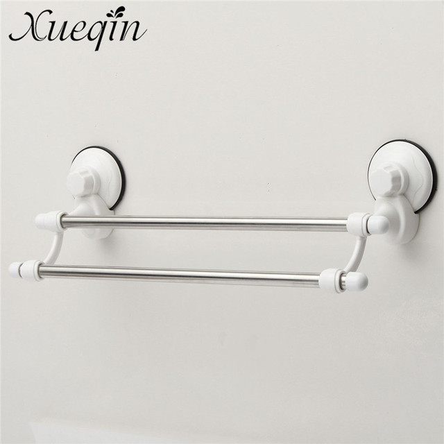 Double Rod Suction Cup Stainless Steel Wall Mounted Bathroom Towel ...