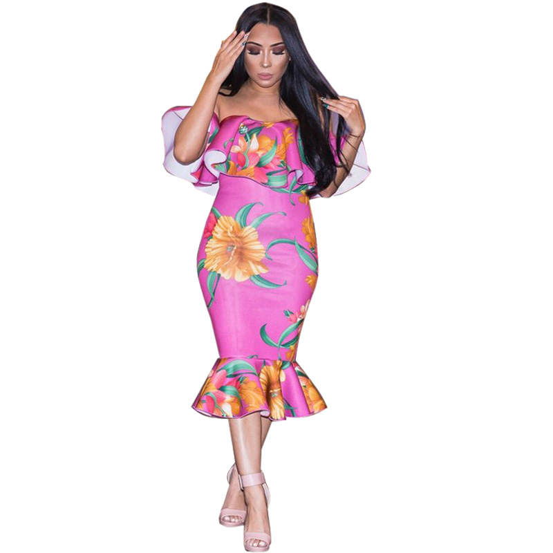 <font><b>Off</b></font> The <font><b>Shoulder</b></font> Trumpet Mermaid Dress Women Summer <font><b>2018</b></font> Floral Print <font><b>Sexy</b></font> <font><b>Bodycon</b></font> Dresses <font><b>Elegant</b></font> <font><b>Club</b></font> <font><b>Party</b></font> Dresses Vestidos image