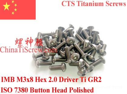 Titanium screw M3X8 ISO 7380 Button Head  Hex 2.0 Driver Ti GR2 Polished 50 pcs 7380 fan7380 sop 8