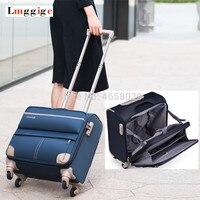 18 дюймов кабина колеса багаж с сумкой для ноутбука, Женский многослойный Дорожный чемодан, мужчины полиэстер матерчатая коробка, чемодан н