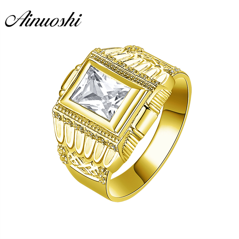 AINUOSHI Luxurious 10K Solid Yellow Gold Men Band Rectangle Cut Ring Engagement Wedding Male Jewelry 7.1g Wide Wedding Men BandAINUOSHI Luxurious 10K Solid Yellow Gold Men Band Rectangle Cut Ring Engagement Wedding Male Jewelry 7.1g Wide Wedding Men Band