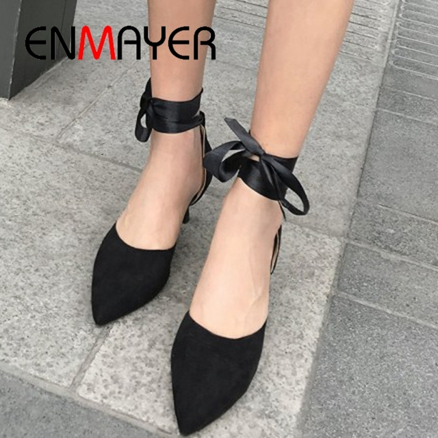 ENMAYER 2019 Women Lace-up Women Fashion Shoes Spring/autumn  Pointed Toe  Casual Solid  Ladies Shoes Size 34-43 LY1859