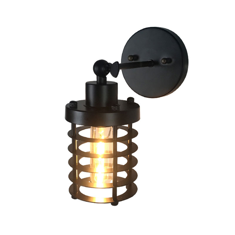 Led Lamps Loft American Country Wall Lamp Industrial Wind Lighting Fixture Clothing Store Vintage Iron Cage Bar Bedside Aisle Wall Sconce