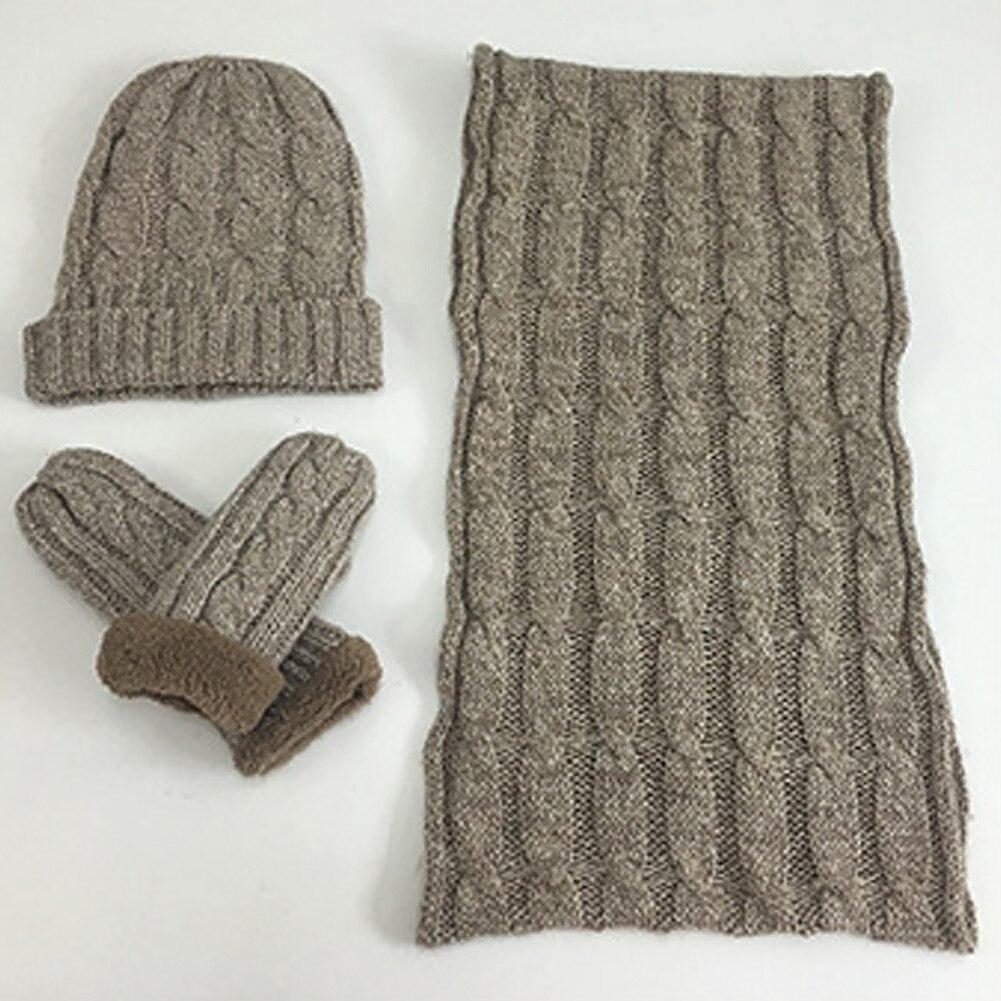 Men Warm Snowboard Ski Scarf Gloves Set Knitted Unisex Fashion Neck Glove Neckerchief Thermal Winter Soft Solid Beanie Hat