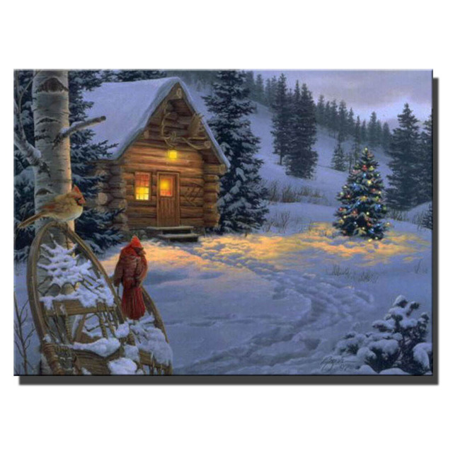Canvas Wall Art With Led Lighted Up Village Cabin With