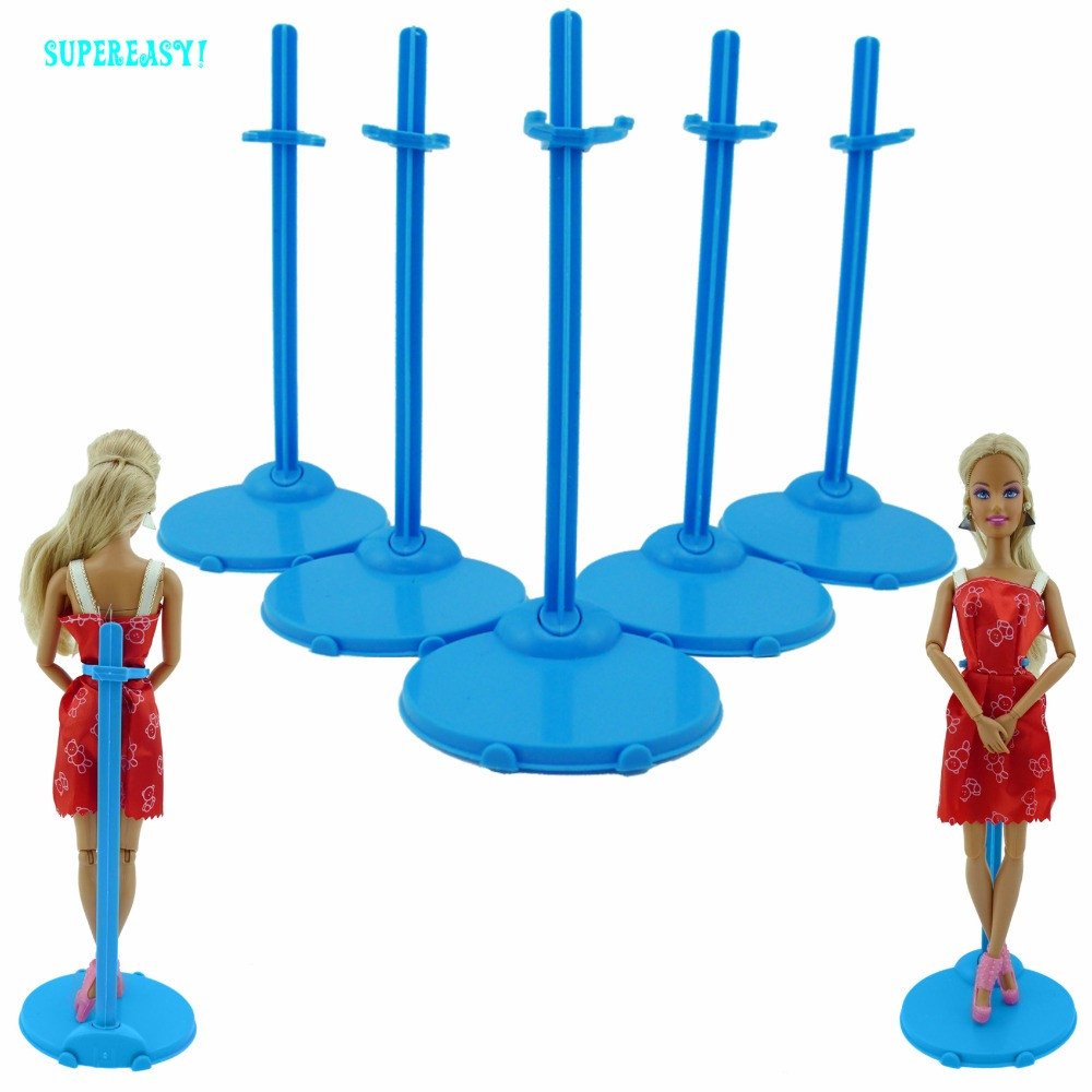 5pcs Blue Doll Stands Figure Display Holder Toy Model Accessories For Barbie Doll Kurhn FR 12 1:6 Puppet Prop Dollhouse Toy