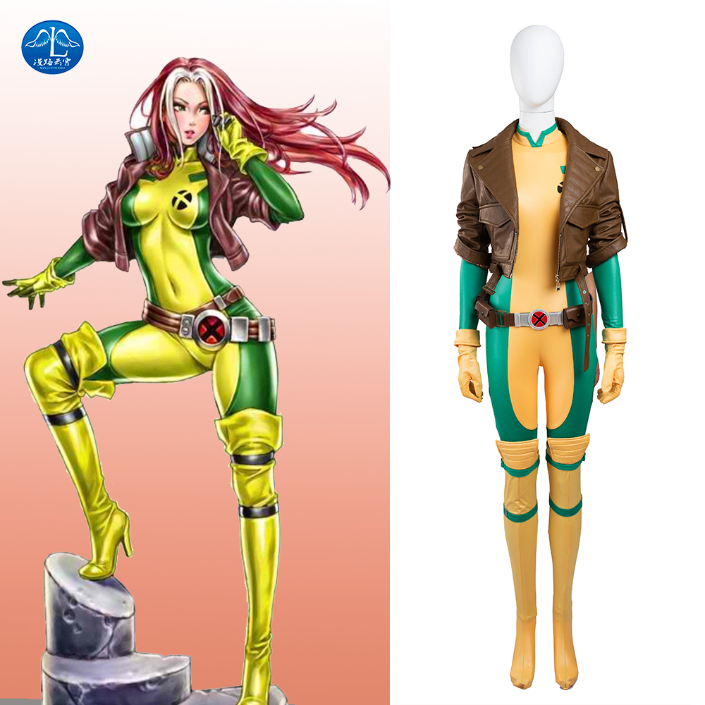 MANLUYUNXIAO X-Men Rogue Mary Cosplay Costume Women Deluxe Outfit Halloween Costumes For Women Custom Made