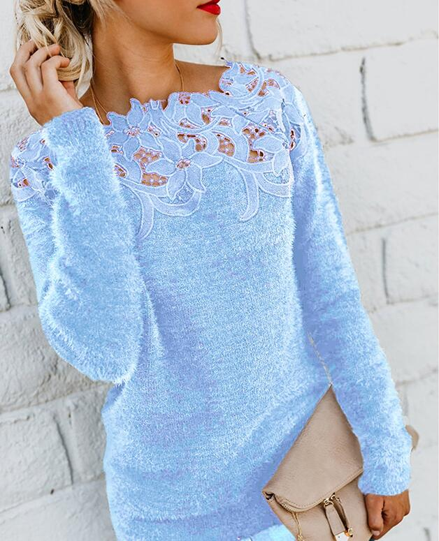 2020 Winter Pullover Sweater Women Wool Tops Lace Floral Plus Size Casual Long Sleeve Pull Female Solid Sweaters Pullovers