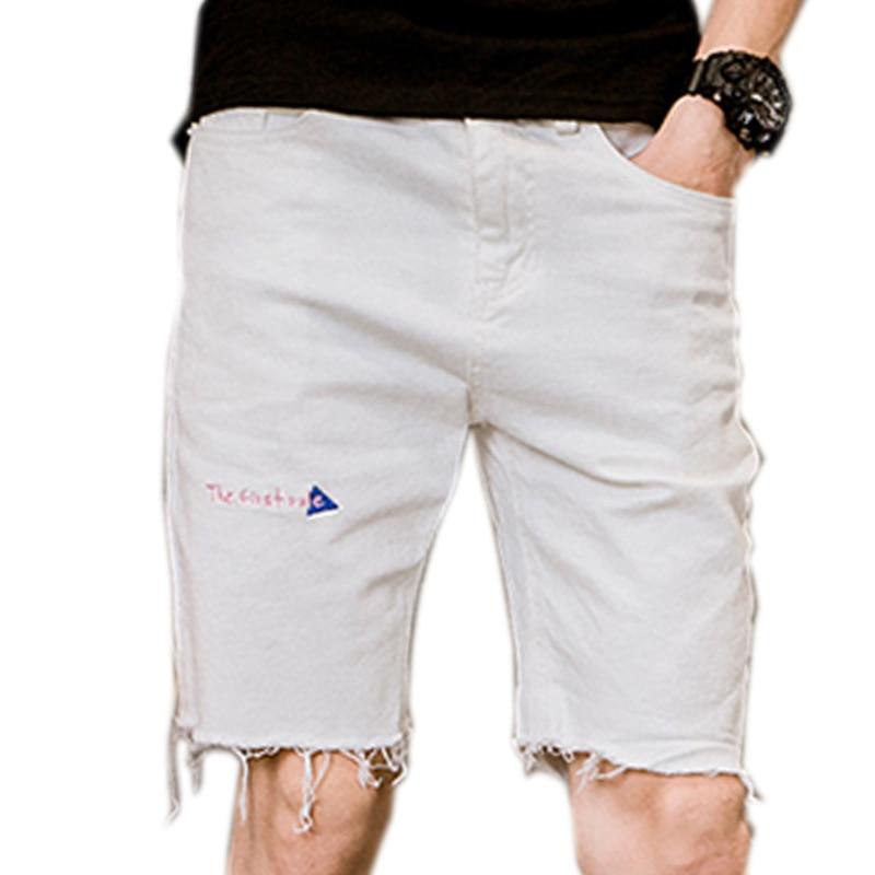 mens shorts white cotton summer male black white shorts for man casual Short pants Moust ...