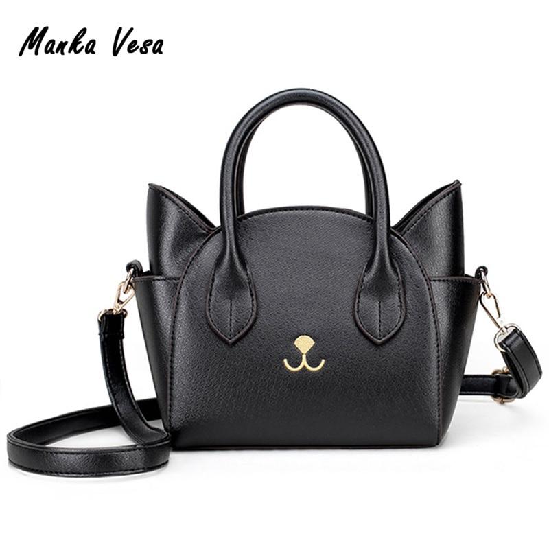 Womens Hand Bags Small Cute Cat Messenger Bag Luxury Handbags Women Leather Bags