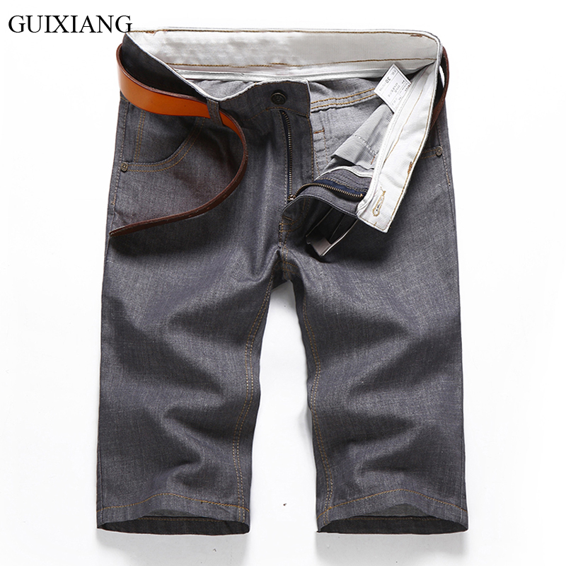 New arrival summer style men boutique gray short denim jeans fashion casual solid plus size straight knee length jeans size28-40