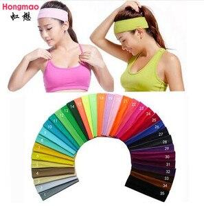 1pcs on sale 2 inch Solid Cotton Headband Sports Softball Sweatband Hair Band Bandage On Head Turban Bandana Elastic(China)