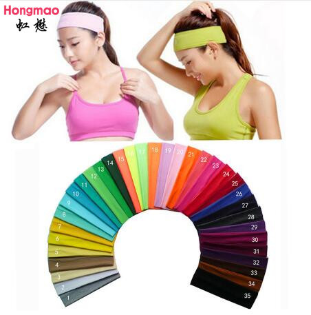 1pcs on sale 2 inch Solid Cotton Headband Sports Softball Sweatband Hair Band Bandage On Head Turban Bandana Elastic