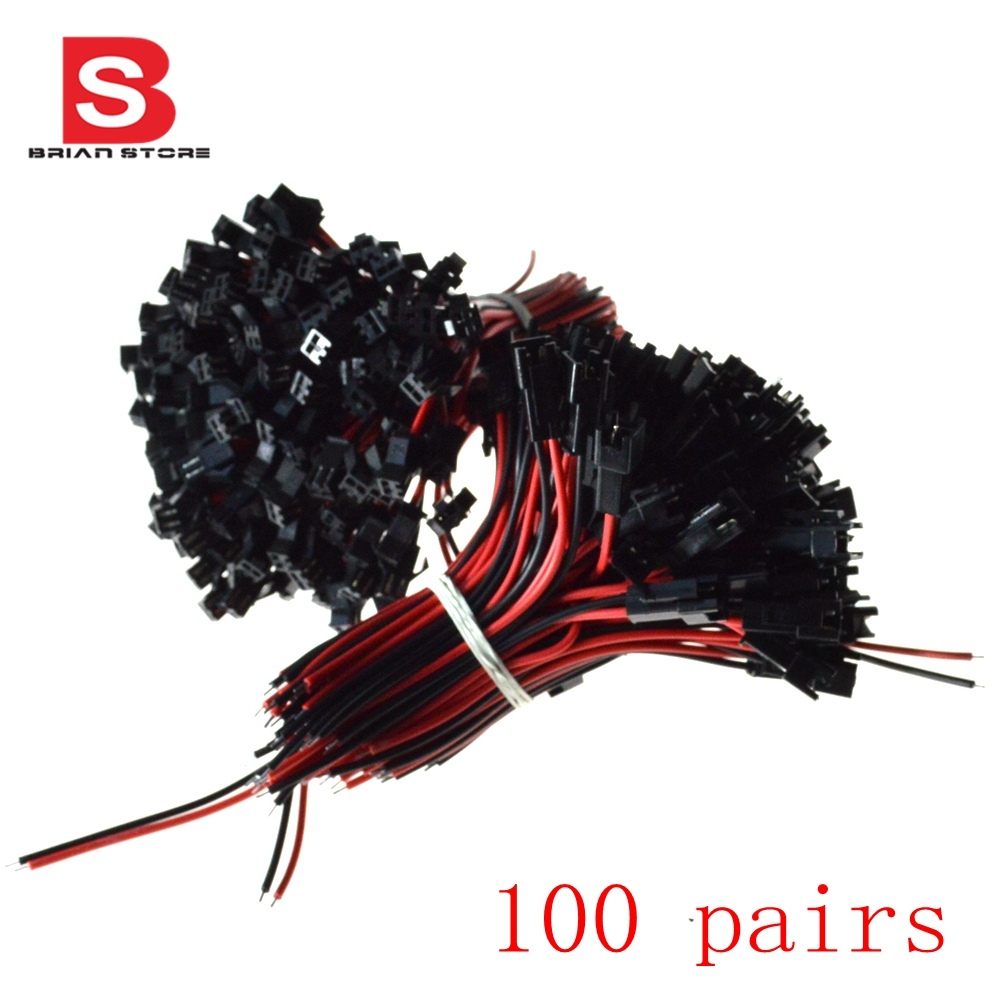 ( 100 pairs / lot ) 2 Pin SM Female Male Connector Cable Plug With 10cm Wire Wholesale цена и фото
