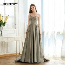 BEPEITHY A line Vintage Long Sparkle Evening Dress Party Elegant V neck Robe De Soiree Glitter New Prom Dresses Long 2020