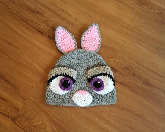 baby  Hat, Judy Hopps Crochet Beanie, Halloween Costume baby Girl rabbit hat - Bunny judy Crochet hat NB-6T