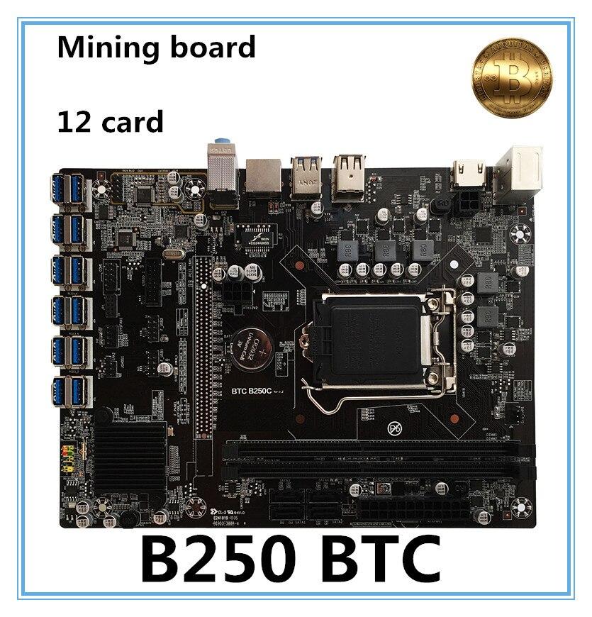 NEW B250 BTC Mainboard LGA1151 CPU DDR4 Memory 12 Card USB3.0 Expansion Adapter Desktop Computer Motherboard memory expansion