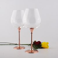 2015 New Design Hot Sale Clear Crystal 680ml Red Wine Glasses Set With Rose Gold Stem
