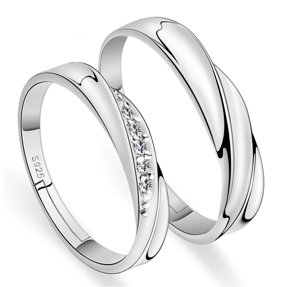 Weddings Couple Rings 1 Pair Love Silver Plated Crystal Engagement Ring Jewelry for Men and Women