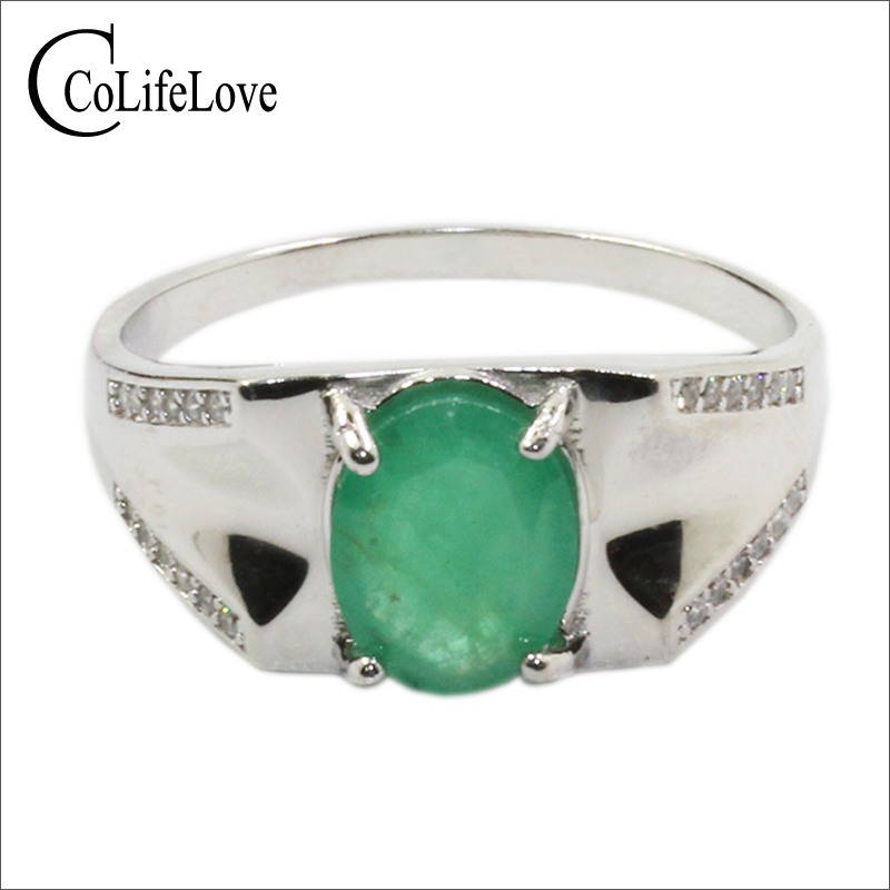 925 Silver Emerald Ring For Man 7 Mm * 9 Mm Natural Zambia Emerald Man Ring Sterling Silver Emerald Jewelry