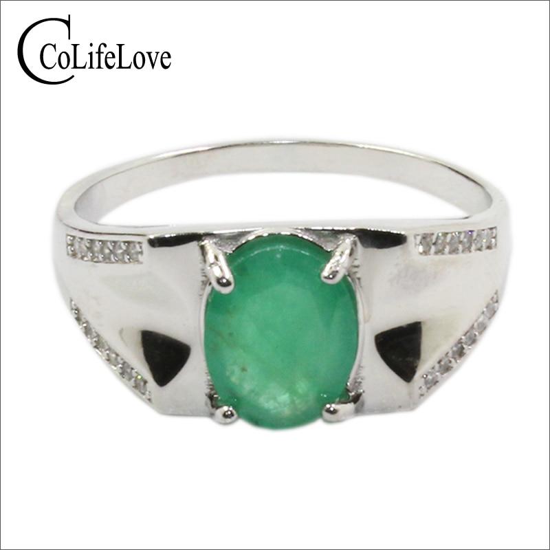 925 srebrny pierścionek ze szmaragdem dla mężczyzny 7mm * 9mm naturalne Zambia emerald mężczyzna pierścień srebro szmaragd biżuteria