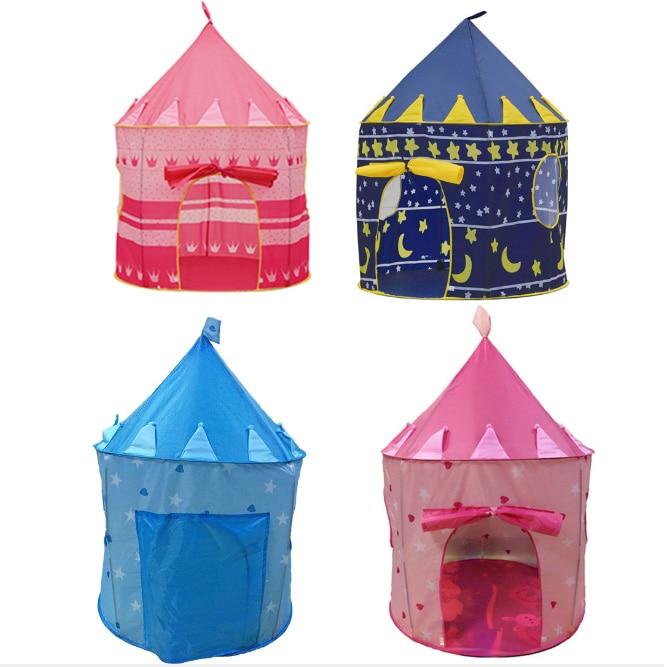 Portable bleu/rose Prince pliable Camping jouet tente enfants château Cubby maison de jeu pour les enfants meilleur cadeau pas de balle d'océan!