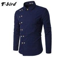 T-Bird новый бренд 2018 Для мужчин рубашка двубортное платье рубашка с длинным рукавом Slim Fit Camisa Masculina Повседневное мужской гавайские рубашки