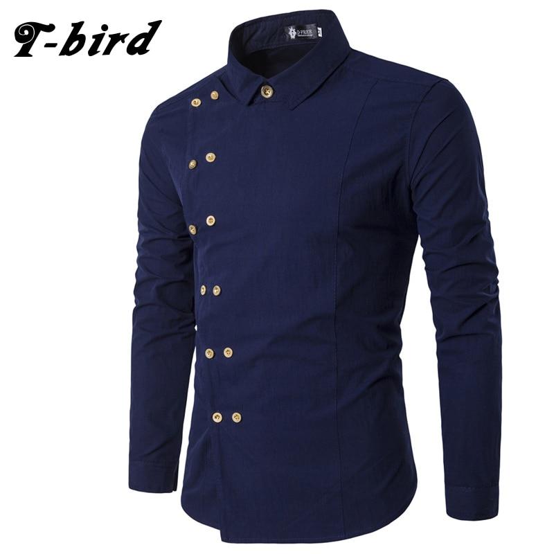 T-Bird New Brand 2018 Men Shirt Double Breasted Dress Shirt Long Sleeve Slim Fit Camisa Masculina Casual Male Hawaiian Shirts