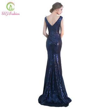 SSYFashion Sexy Slim Mermaid Evening Dress Deep V Collar Sequins High Slit Sleeveless Fishtail Prom Party Gown Reflective Dress