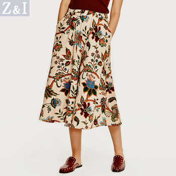 Vintage Floral Printed Bohemian Skirt
