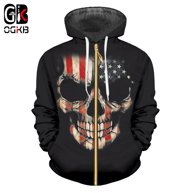 e1ceb6122892 OGKB 2018 New Skull Hoodies Men American Flag Printing Sweatshirt Male Hoody  Hip Hop Autumn Winter Zipper Hoody Casual Pullovers