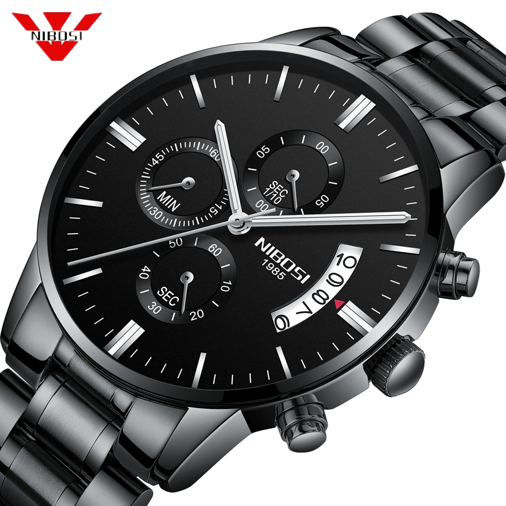 NIBOSI Mens Watches Top Luxury Brand Chronograph Men Sports Watches Waterproof Full Steel Quartz Men's Watch Relogio Masculino