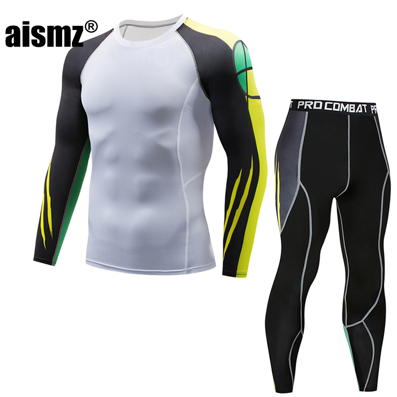 Aismz Bodysuit Skinny Tracksuit Men T shirt 3d Compression Sets Moletom Masculino Fitness Suits Leggings Polyester Male Crossfit