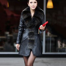 2016 women's genuine leather sheepskin coat with fox fur collar middle long styles 100% real sheep leathe outwear CW2512