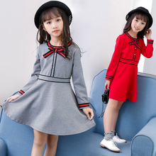 hot deal buy girls dress 2019 new o-neck preppy style kids clothes cotton long sleeve baby dresses 2-3-4-5-6-7-8 baby girl clothes