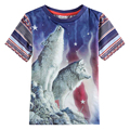 Nova 2015 New  novelty design with wolves pattern printed striola Baby boys summer Short Sleeve T-shirts boys clothing retail