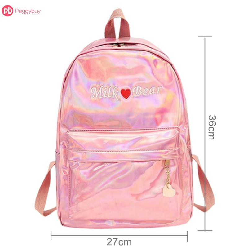 Women's Bags Women Girls Bag Pu Leather Backpack School Bags For Teenage Girls Mini Travel Bags Silver Blue Pink Laser Backpack M139