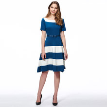 Women Blue Dress Striped Elegant Bowknot Work Sweet Dresses Summer Casual  Female Modern A Line Office Dress 517935ff4d52