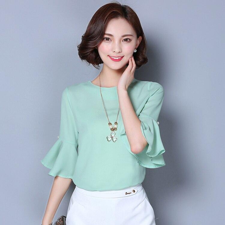 Más el tamaño 2017 nuevas mujeres del verano camisas media manga flare gasa blus