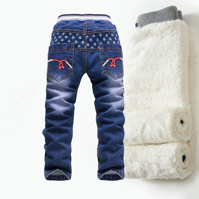 New Winter boys jeans 2016 Children Denim Thick Warm Pants Casual Kids Plus Cashmere Girls Jeans Boy Trousers for 2-14 y