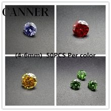 CANNER Fashion Beads Hand Made Diy Jewelry Making Supplies Round 5A Cut CZ Stone Zircon 50PCS Per Colors Wholesale Lots Bulk R4