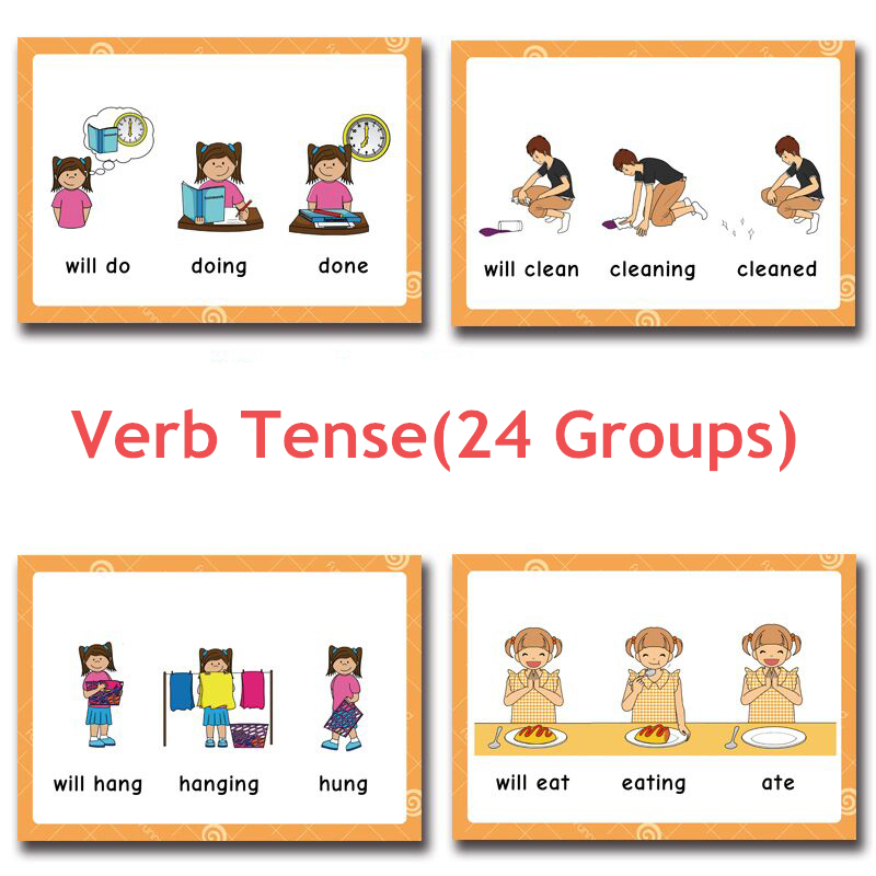 24 Groups/set Verb Tense Flash Card Leaning English Word Picture Educational Toys For Children Kids Games Classroom Cards