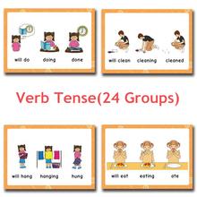 24 grupy zestaw czasownik napięta karta Flash pochylony angielski słowo obraz zabawki edukacyjne dla dzieci gry dla dzieci karty klasowe tanie tanio HAPPY MONKEY 3 lat Papier Verb Tense