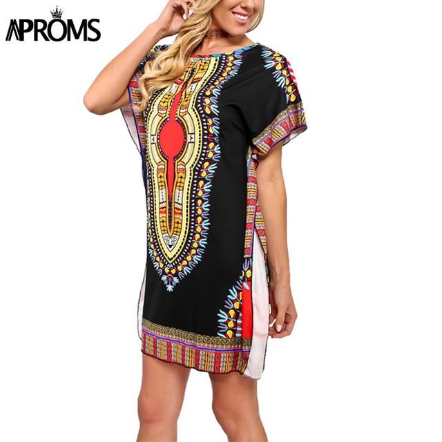 Aproms Ethnic Indie Folk Summer Short Dress Women Cloak Sleeve Traditional  African Dashiki Print Tunic Dresses 0b766d5cbb30