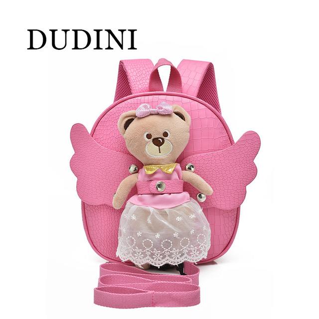 DUDINI Criativo Bonito de Couro Pu Urso Saco Anti-Perdido Mochila infantil Das Crianças 2-5 Anos de Idade Do Bebê sacos