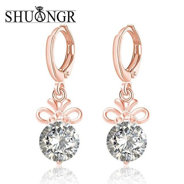 Shuangr Free Shipping Gold Filled Earrings For Women Cubic Zirconia Dangle S Jewelry Drop