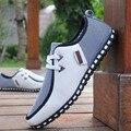 Модные кроссовки, мужская повседневная обувь, кожаная обувь для вождения, мужские лоферы на плоской подошве без шнуровки, размеры 38-47, белые, черные, chaussure homme - фото