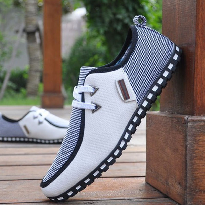 Fashion Sneakers Men Casual Shoes Leather Driving Shoes Flats Men Loafers Slip On SIZE 38-47 White Black Chaussure Homme men leather boat shoes vintage lace up casual driving shoes man fashion flats chaussure homme large size 46 loafers zapatillas