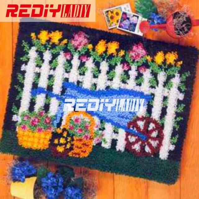 REDIY Tapete do Gancho da Trava Crochê Conjunto Almofada Do Sofá para o Bordado de Fios Tapete Tapete Tapeçaria de Parede Jardim Flor Casa Decoração Chão mat
